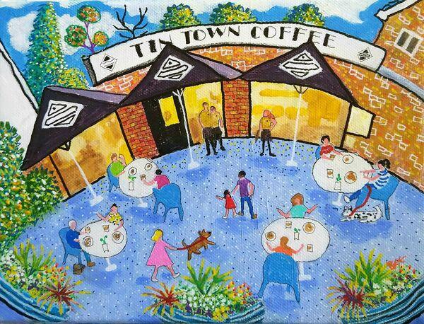 Tin Town Coffee original painting by Bee Skelton