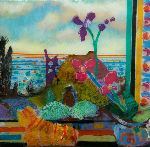 mixed media painting by Bee Skelton, Cornish tin mine, Cornwall coast, window view, collage on canvas with resin surface.