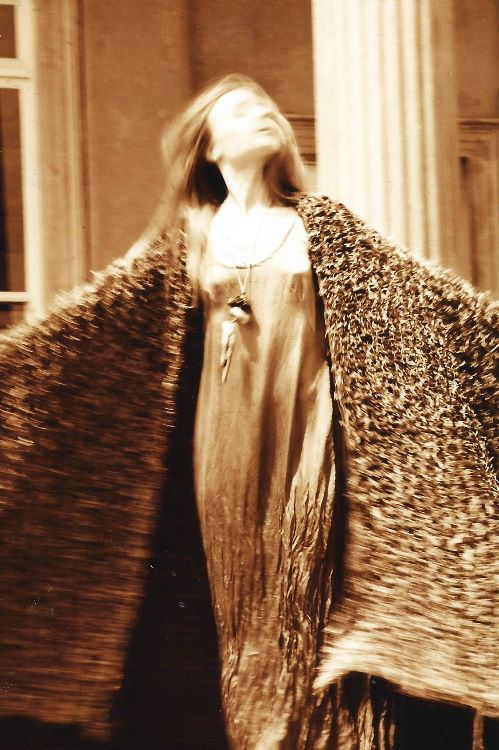 Knitted Coat with Silk Dress