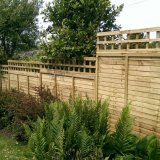 Overlap panel fence with trellis