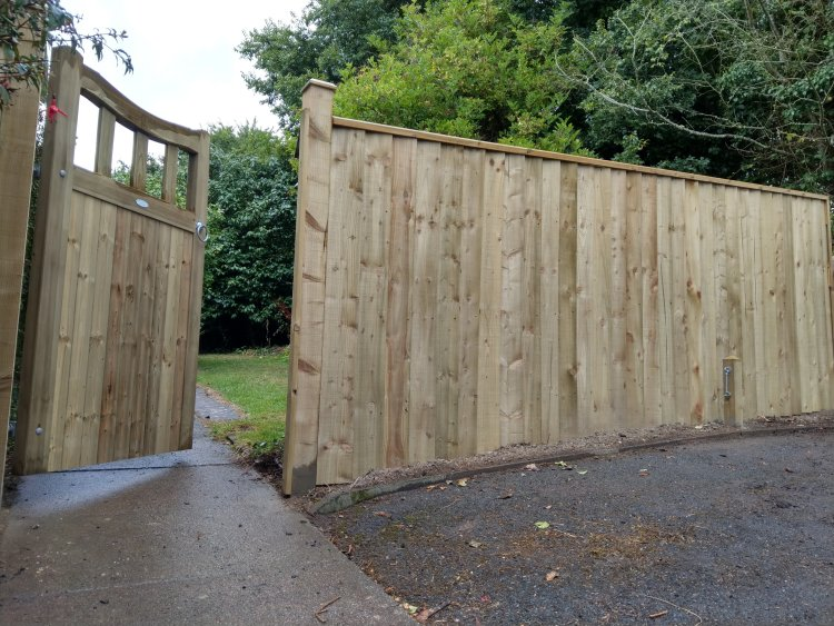 pedestrian gate with feather edge  fence and capping rail