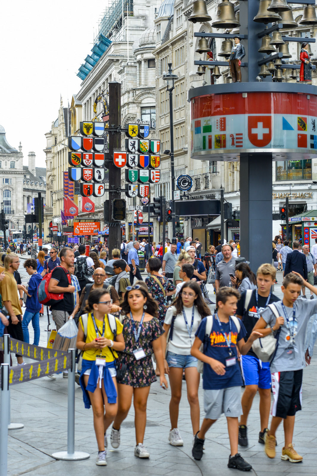 local london area photo tourists in leicester square