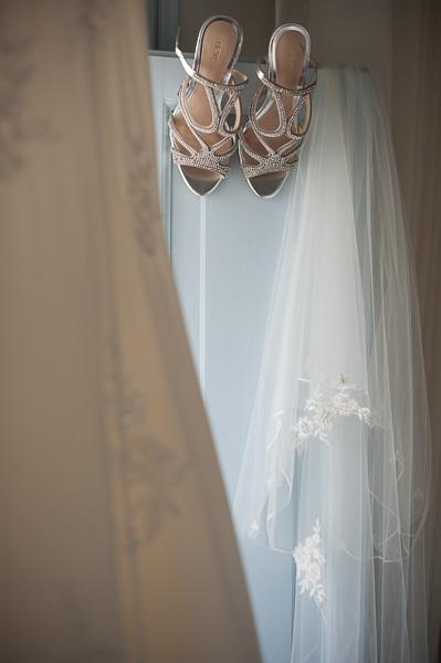 Bridal dress and shoes, Santorini Wedding Photography