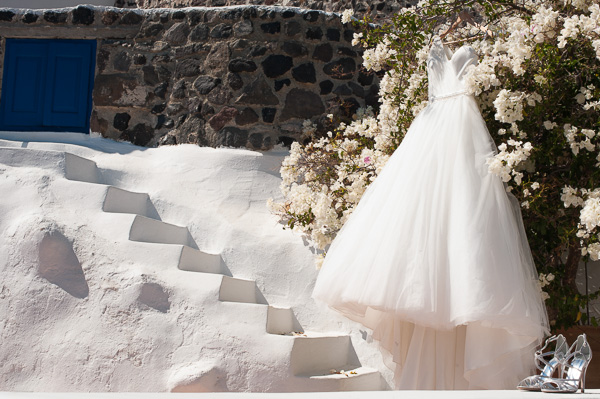 Bridal dress, Santorini Wedding Photography