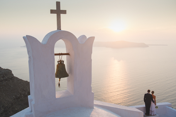 Newlyweds Janna and Chad on their elopement at Astra Santorini