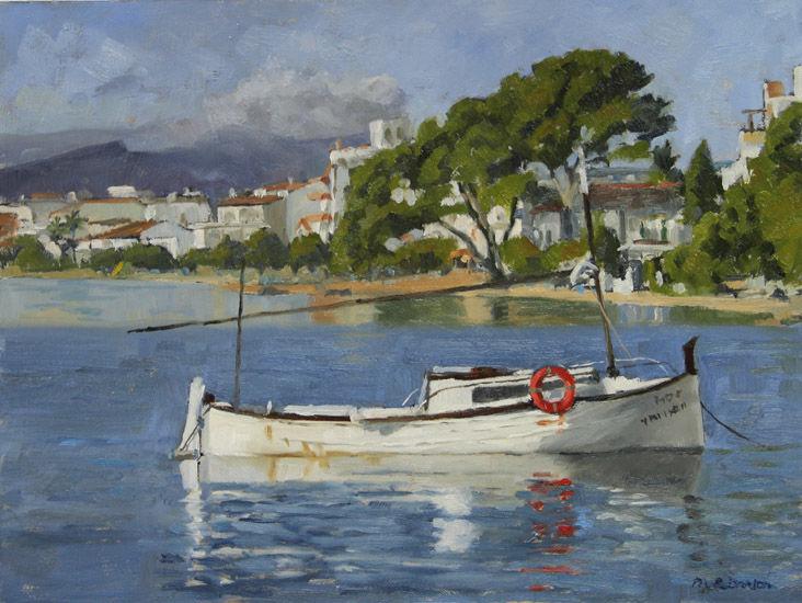 Boat moored off Pine Walk, Puerto Pollensa, Mallorca