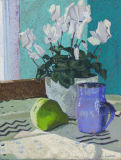 White Cyclamen, pear, blue cup