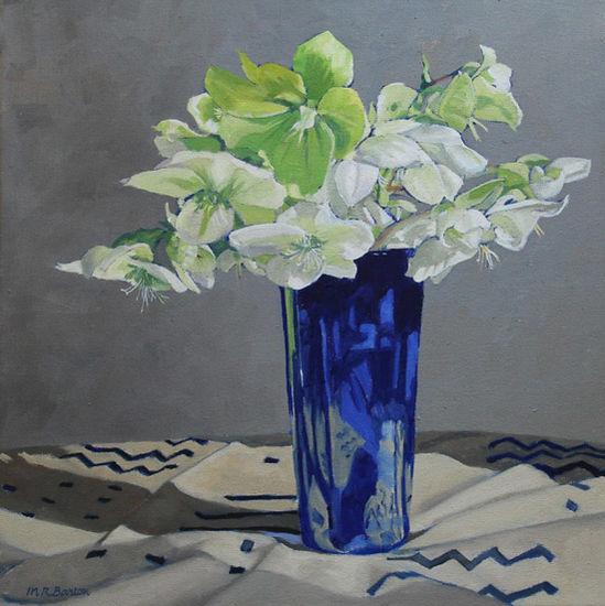 Hellebore in blue vase