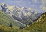 Mont Blanc, Dôme du Goûter, Aiguille du Goûter and the Bosson Glacier from Planpraz