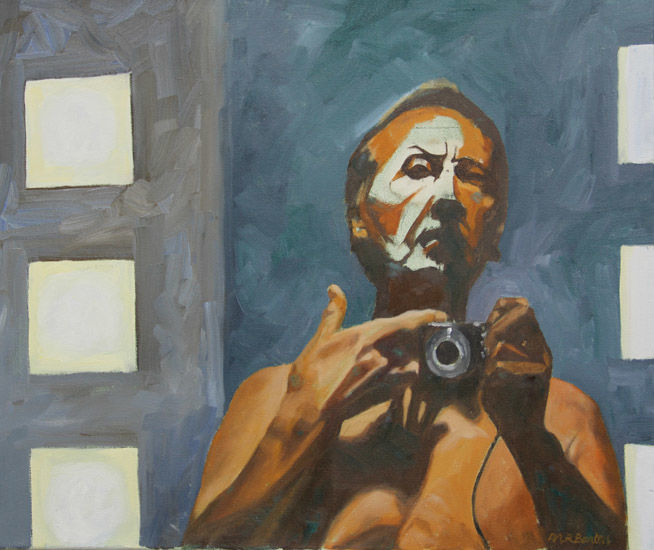 Painting, photograph, mirror, self.