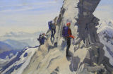 Jake, Cas and Patsy passing the gendarme on the South, South West Ridge of the Lagginhorn.  The Valais Alps