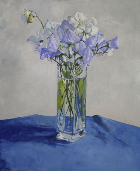 Sweet Peas in glass vase
