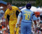 Glenn McGrath has a word with Sachin - World Cup 2003