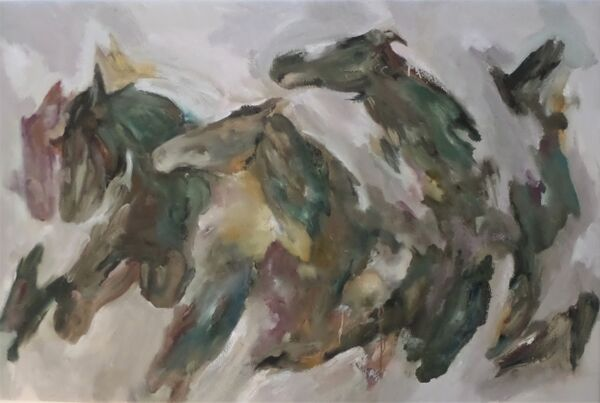 Bryophyta (The Horse Fair)  100cm x 149cm (2020-21) oil on jute