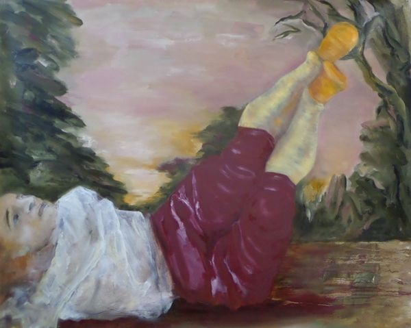 The Silken Stockings (after Pontormo) (2019) oil on jute 100cm x 124cm
