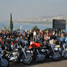14. The Harleys gather outside Beirut to re group for Parade into the city