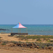 Typical picnic shelter on the beach near Jizan
