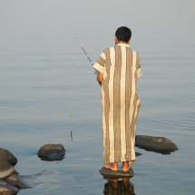 Early morning Fishing from a rock Jeddah