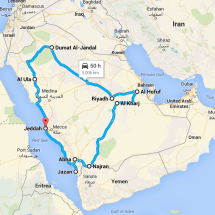 Map of Farewell Tour of Saudi Arabia
