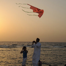 Father and daughter on Jeddah Corniche