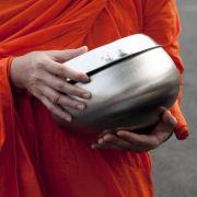 Monk with alms bowl, Bangkok, Thailand