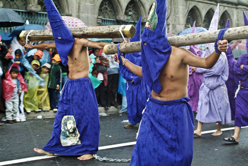 Hooded penitents, Easter procession, Quito, Ecuador