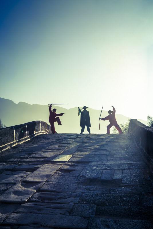 Fantasy sward fight on a bridge, Shaxi