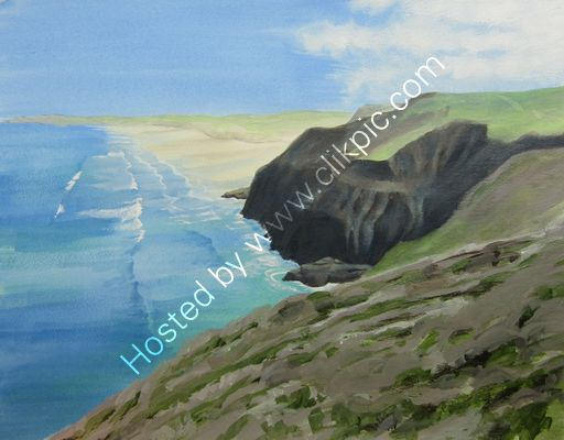 St Agnes to Perranporth acrylic on paper