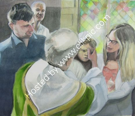 Jessie's Christening watercolour