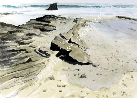Crooklets Beach watercolour