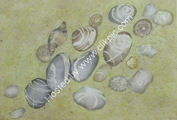 Widemouth Bay Pebbles watercolour