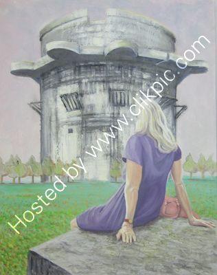 Flak Tower Augarten Vienna oil on canvas