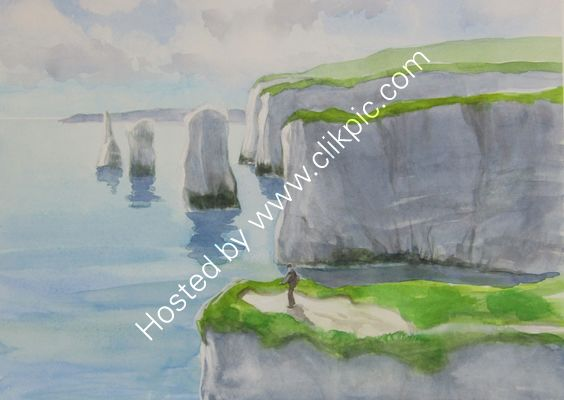 Old Harry Rocks watercolour