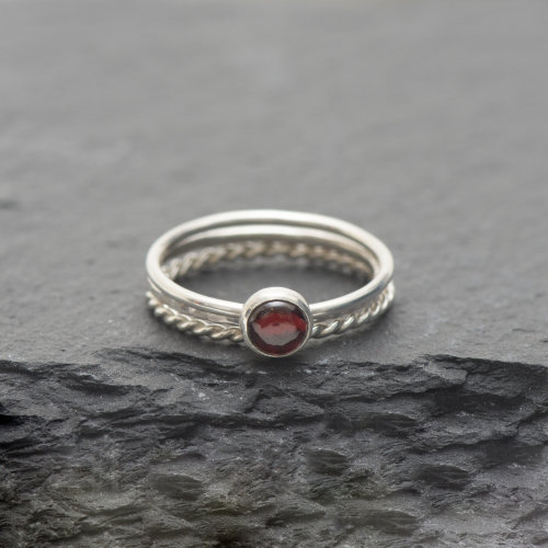 Garnet Stacking Ring Set £29