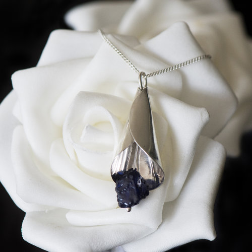 Silver Lily with Sapphire Pendant - Custom Order