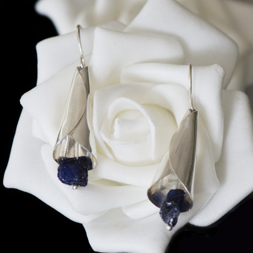 Silver Lily with Sapphire Earrings - Custom Order