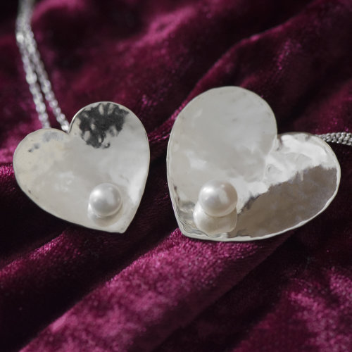 Silver Heart Pendants with Pearls - Custom Order