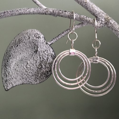 Round Silver Earrings - Custom Order