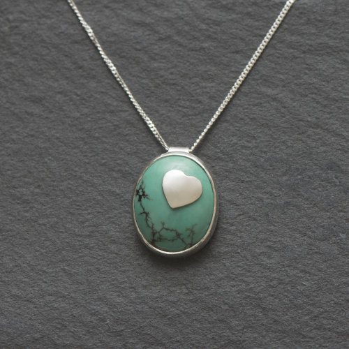 Turquoise with Silver Heart