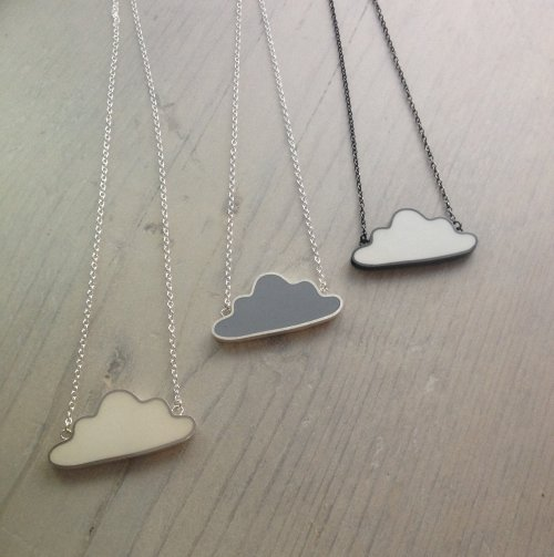 White, Grey & White in Oxidised Silver Cloud Pendants