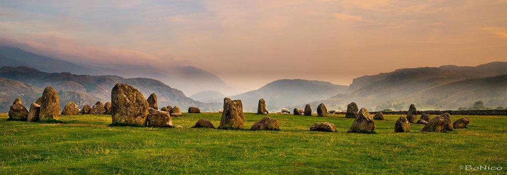 Stone circle and sunset
