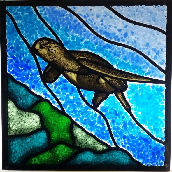 Turtle Painted and Fused Panel