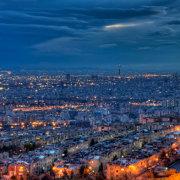 Illuminated Tehran Skyline