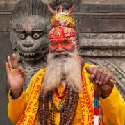 Sadhu and Wooden Lion