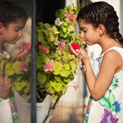 Portrait with Flowers and Reflection