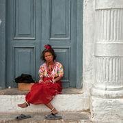 Blue Door and Red Skirt