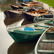 Old Boats Parked on a Canal
