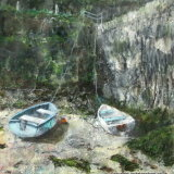 Two Boats in Harbour, Boscastle by Anita Langham