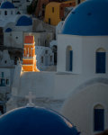 Last light at Oia church