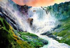 Kjosfossen waterfall, Flam valley, Norway